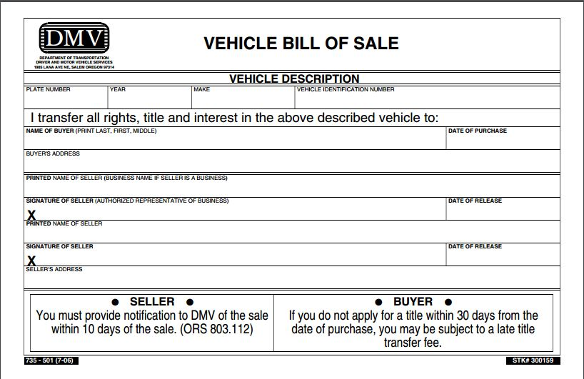 create a bill of sale for a car