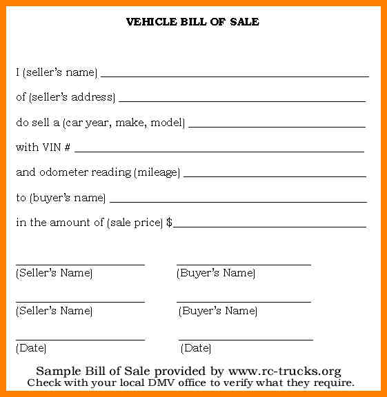 Simple Bill Of Sale >> Bill Of Sale Form Template Vehicle Printable Site Provides