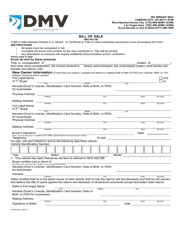 Bill of sale form template vehicle printable site for Motor vehicle record check