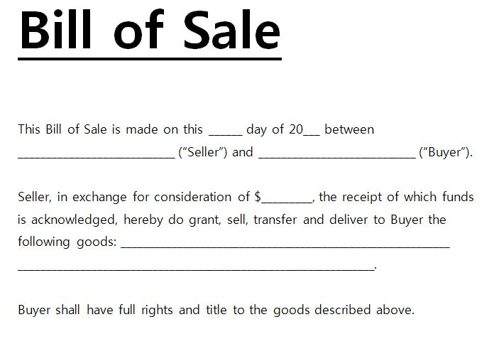 Bill Of Sale Form Template Vehicle Printable Site