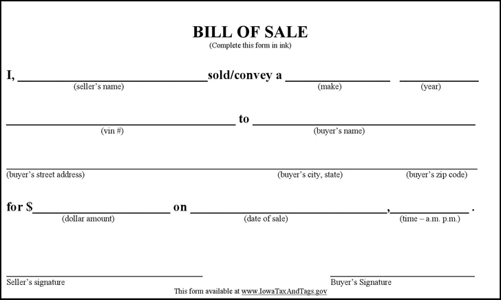 auto bill of sale printable