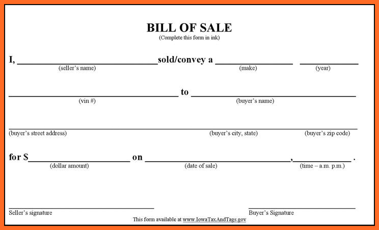 blank bill of sale