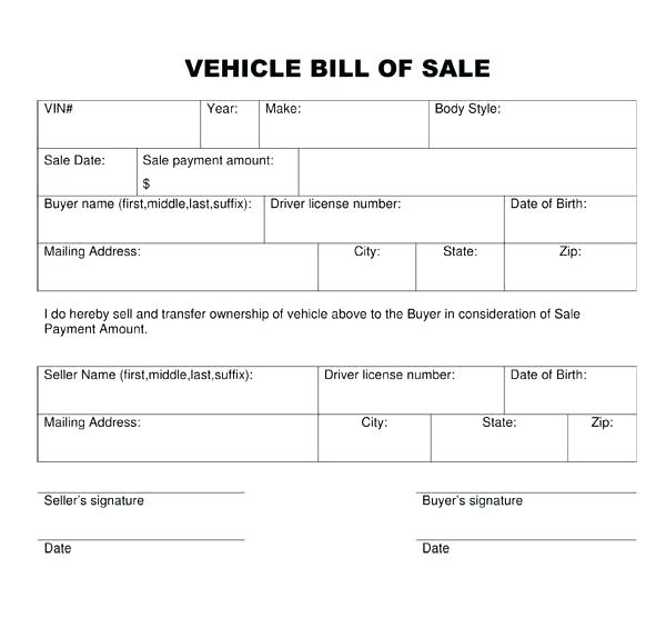 bill of sale vehicle