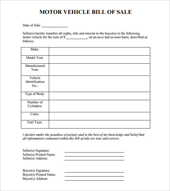 print a bill of sale form for free