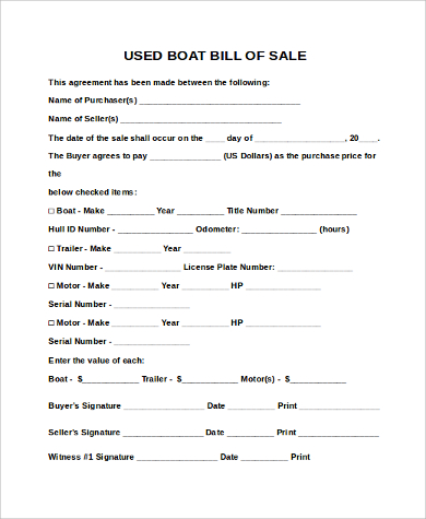 How to Write Bill of Sale for Boat | Bill of Sale Form Template ...