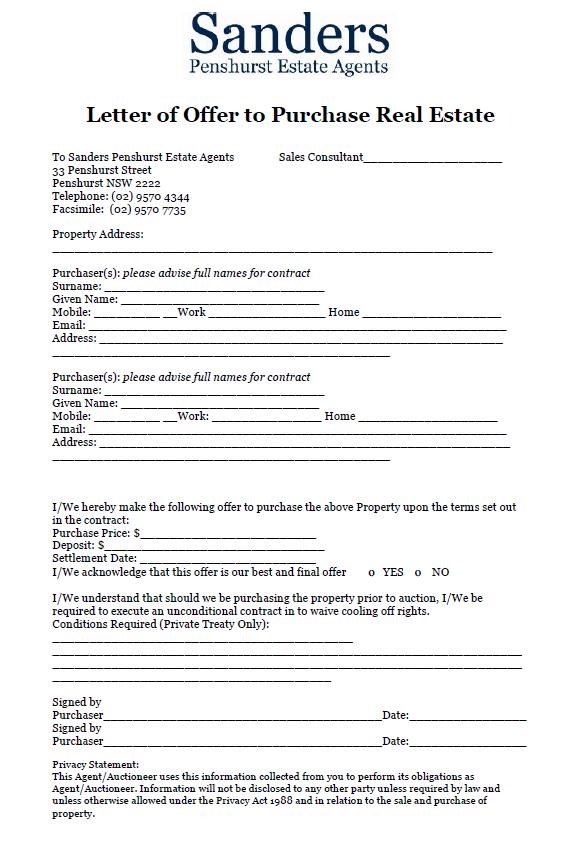 Real Estate Property Offer Letter