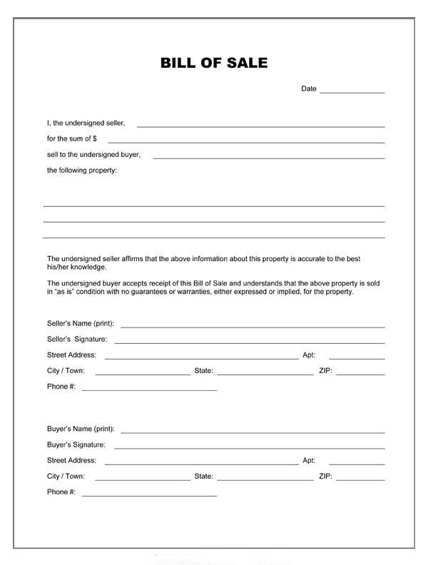 Conditional Bill of Sale Template