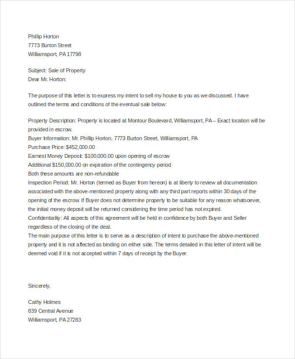 Sample Letter to Sell Property Format