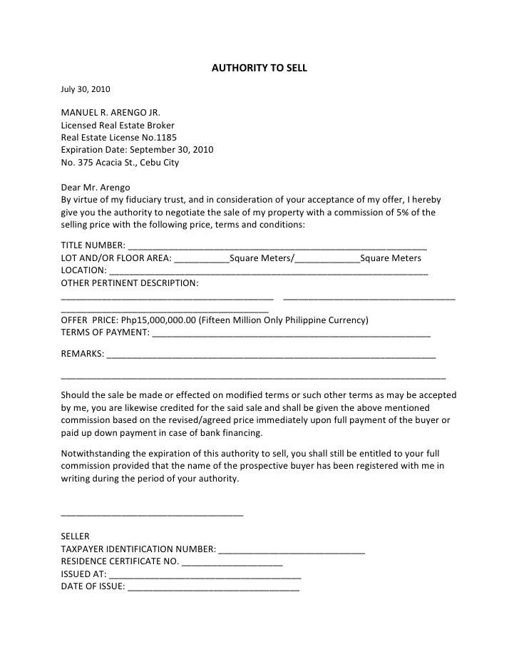5 Real Estate Property Offer Letter Template Bill Of Sale Form