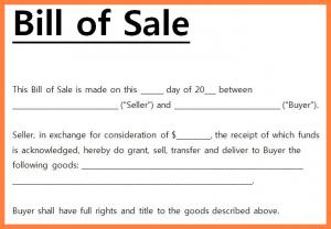 SimpleBill of Sale Example
