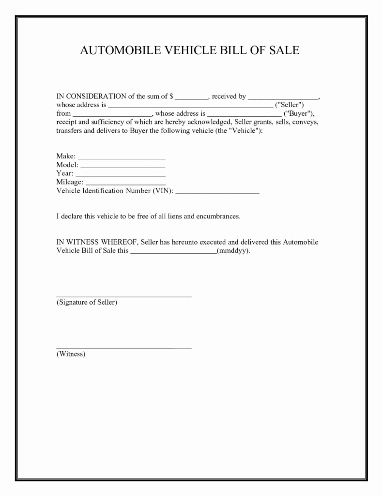 sample used car bill of sale template bill of sale form template