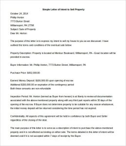 Letter of intent to Sell Property