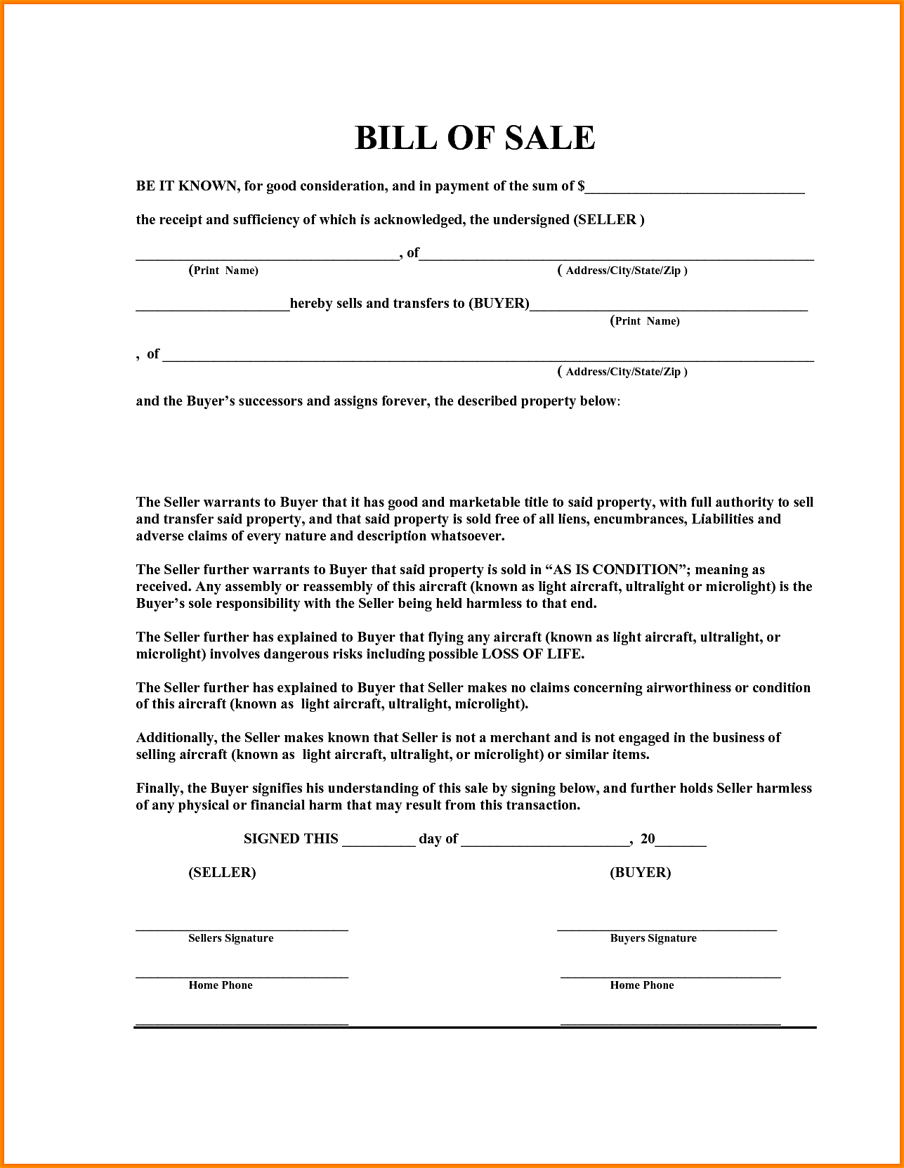 Blank boat Bill of Sale Template in PDF