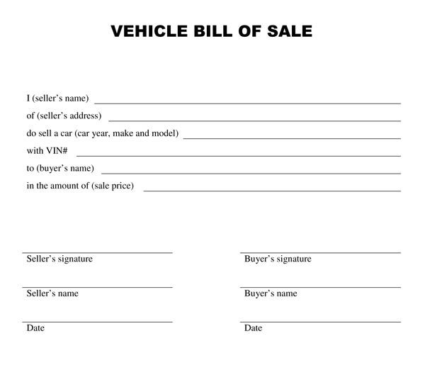 sample blank printable bill of sale for vehicle in pdf