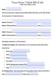Bill of Sale Texas Template